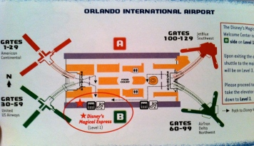 It's pretty easy to navigate the airport, and this little map comes in your Magical Express Voucher packet to tell you where to go!